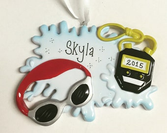 Swimmer Ornament / Personalized Christmas Ornament / Personalized Swimming Ornament / Swimming Goggles