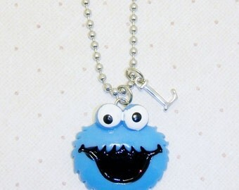 Cookie Monster Necklace With Initials, Sesame Street, Childrens Necklace, Childrens Jewelry,Kids Necklace, Kids Jewelry