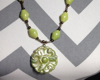 Polymer Clay Medallion necklace Green Christmas in July SALE~ FREE Shipping now Through July 31st