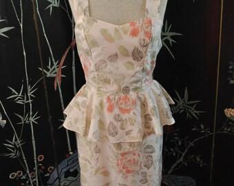 1980s Rose Peplum Dress - Small/ Medium