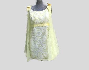 Vintage 60's  yellow chiffon lace babydoll dress Mad Men