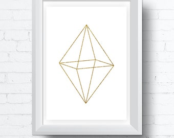 Minimalist octahedron Geometric Gold and White Printable Wall Art Download. Modern contemporary poster (8x10 and various sizes)