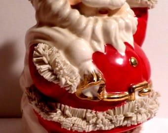 Christmas, Spaghetti Santa, Decoration, 1950s Christmas, 1960s Christmas, Made in Japan, Bank, MIJ, Santa Bank, Santa Claus, shiny bright