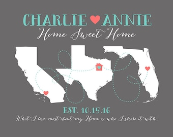 First Home Gift for Housewarming Art Print, Hometowns, 3 Maps, Long Distance, Moving Away Gift, New House, What I Love Most Home | WF217