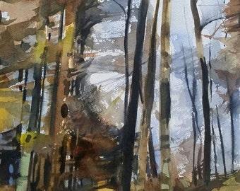 Landscape Painting, Original Watercolor, Landscapes, Fall