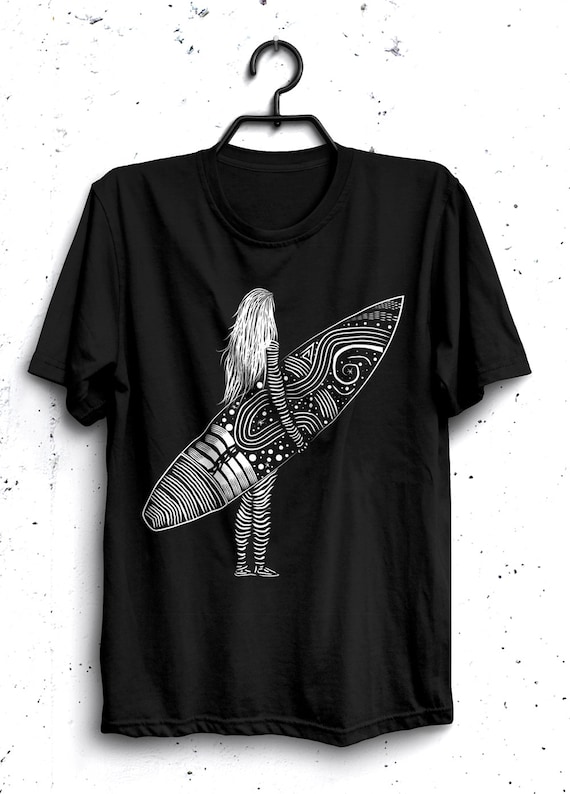 Surfer Girl - Line Art Hand Illustration Unisex T-Shirt Black