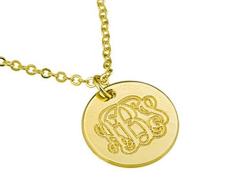 Monogram Necklace. Personalized initials monogram necklace. Gold monogram necklace. 16mm coin necklace. Gold initial necklace. Gift ideas
