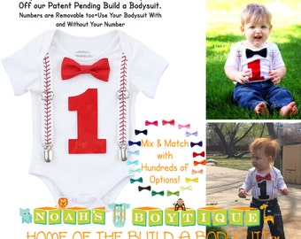 Baseball First Birthday Shirt Baby Boy - Baseball Outfit- Number One Shirt - Baseball Suspenders Red Bow Tie - 1st Birthday - Clothing