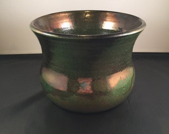 Raku Algae Bloom Green Bowl