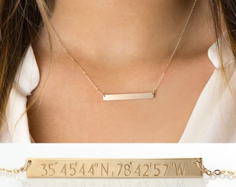 Custom Coordinates Bar Necklace • Personalized Bar in 14k Gold Filled, Sterling Silver or Rose Gold / PERFECT Bar Necklace, LN140_35_H