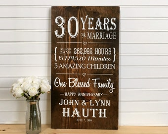 30 Year Anniversary, 30th Anniversary Gift, Gift for Parents, Blessed Sign, Anniversary Sign