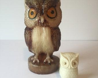 Vintage Owl Candle, Owl Wax Candle, Owl Statue, Wildlife Candle, Retro Decor, Retro Owl Decor, Mid Century Decor