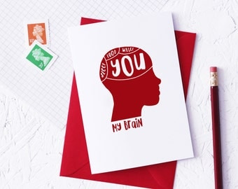 PHRENOLOGY Funny Valentines Day Card Science Theme Geek Red Biology  Humourous Ruby Anniversary Cards Blank Greeting