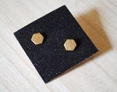 Little Brass Hexagon Earrings