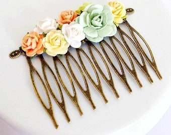 Shabby chic Fairy-tale Pastel Spring Flower Hair Comb