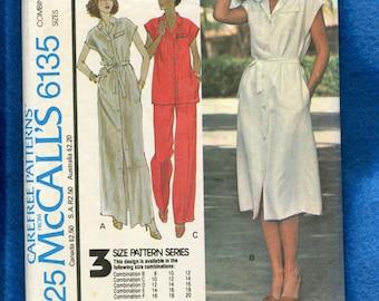 1970's McCall's 6135 Halston Designer Cap Sleeve Shirt Dress Size 10..12..14 UNCUT