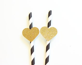 Gold Heart Straws, Paper Straws, Party Straws, Heart Straws, Drinking Straws, Wedding Straws, Bachelorette Straws, Bachelorette Decor
