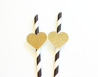 Gold Heart Straws, Paper Straws, Party Straws, Heart Straws, Drinking Straws, Wedding Straws, Bachelorette Straws, Bachelorette Decor