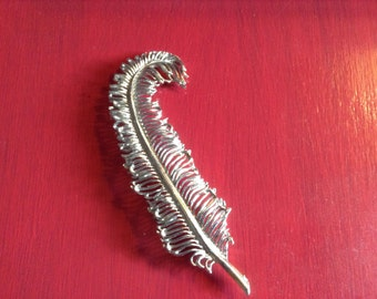 Vintage Brooch Judy Lee Large Silver Feather