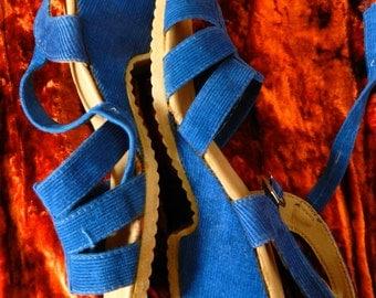 Vintage 70's royal blue corduroy summer sandals uk 4.5