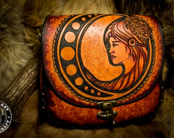 Leather Crossbody Purse  Art Nouveau Goddess