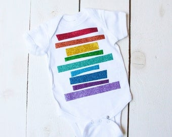 RAINBOW Oneise Unisex Summer Brights OOAK Glitter Rainbow Gay Pride Newborn Infant Toddler