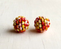Candy Apple - 2 small handwoven {song}beads - handwoven beaded beads - handmade beads - seed bead beads