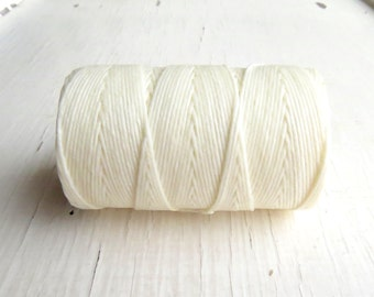White 4ply Irish waxed linen cord (6 yards), Irish waxed linen, irish waxed linen thread, white linen cord, uk, 4ply cord