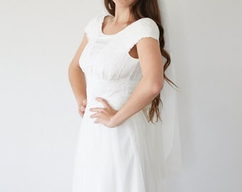 Bridal veil wedding fingertip length  - Cécilia