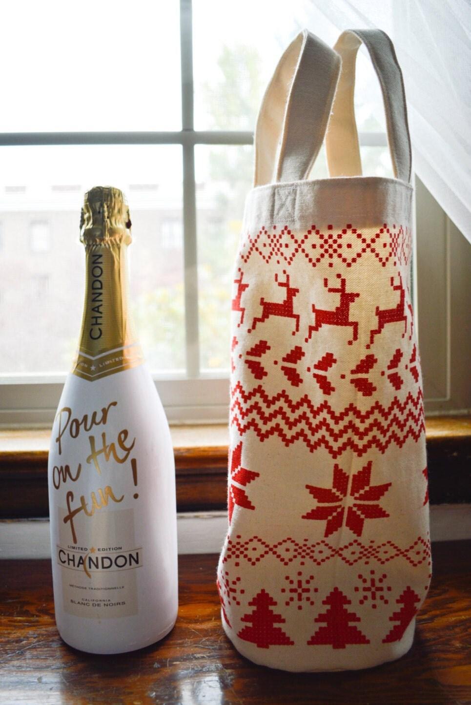 Ugly Sweater Wine Gift Bag, Canvas Wine Tote Bag, Screen Print ...