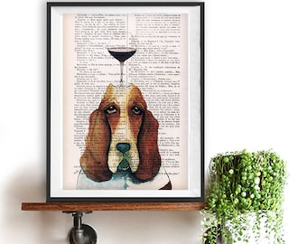 Fantasy Basset Hound print, Hush puppy art, Dog Artwork, Basset Hound Art Print, Gift for Him, Red, Office Wall Art, Wall Decor, Home Decor