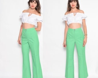 Vintage 70's Lime Green Flared Bell Bottom Pants