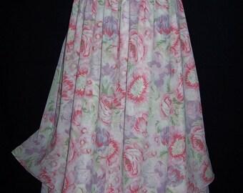 Laura Ashley vintage summer cotton voile, soft pastels layered gathered skirt, size 14 UK