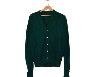 Vintage Golf Sweater - V Neck Golf Cardigan - Grampa Sweater Cardigan - Emerald Green Cardigan - 60s Grandpa Sweater