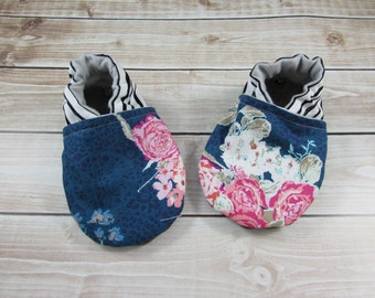 Floral Stripe Baby Shoes, Flora Blue Tula Accessories, Pink Blue Cotton Shoes, Toddler shoes, Soft Soled Shoes,  Floral Flowers, Cabooties