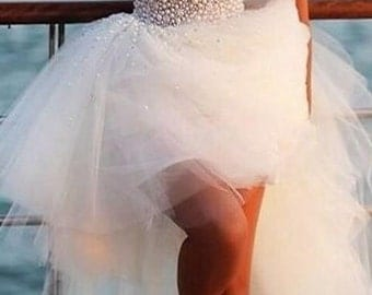 Sweetheart Pearls High Low Tulle Wedding Dresses
