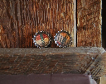 White, Green, Yellow, Blue, and Red Plaid Bottle Cap Stud Earrings!