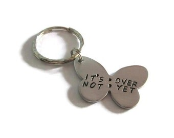 It's Not Over Yet - Semicolon - Butterfly Keychain