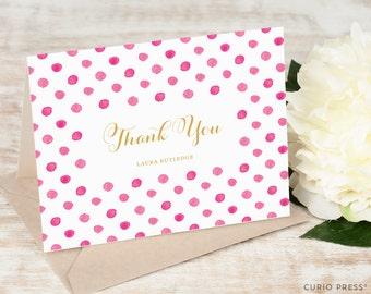 Personalized Notecard Set / Folded Personalised Stationary Thank You Note Cards / Women's Girl's Stationery // POLKA DOT Thank You