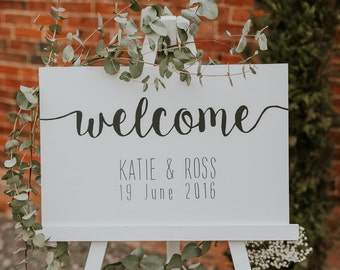 Welcome to wedding sign, hand painted wooden sign