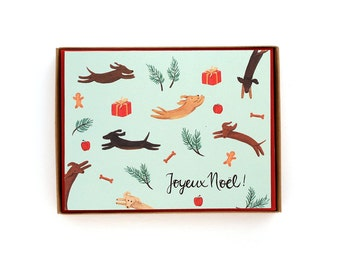 Box of 8 Jumping Dogs Holiday Card - Joyeux Noel! - French Christmas Cards / HLY-DOGS-French-BOX