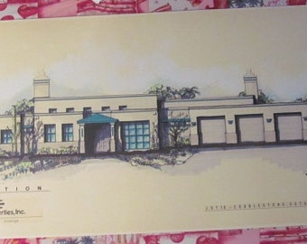Tucson Arizona Architectural Drawing 1980s Great Blue Color Within Southwest Piece