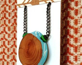 OOAK Hand-painted Lightning Wood Pendant Wearable Art Necklace