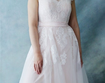 Rose Tea - Floor Length Light Blush French Lace Wedding Dress with Cap Sleeves.  - AM1948085