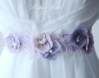 Beautiful lavender color wedding sash belt ,light Purple Flower and lace  Bridal Sash Wedding Belt