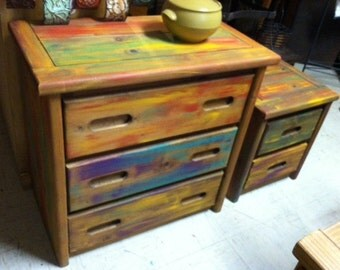 Hand painted low chest & side table / FREE shipping in the USA.