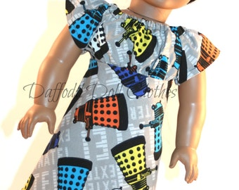 18 inch Doll Dress, Made from Doctor Who Fabric,  American Doll Clothes, 18 inch Doll Dress, Geeky Gift