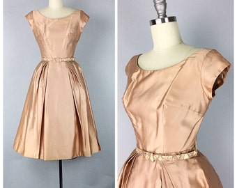 50s Taupe Emma Domb Satin Dress - 1950s Vintage Pink Party Dress With Matching Lace Belt - Small - Size 4