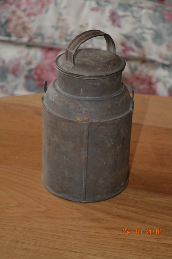 Vintage Antique Milk Pail Cream Can Tin Childrens Lunch Pail