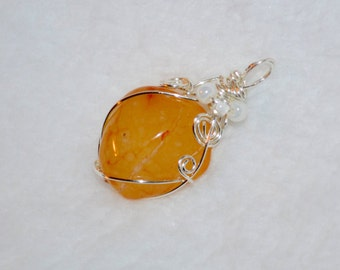 Oregon Beach Agate Pendant and 925 Silver Necklace - Orange Yellow Silver